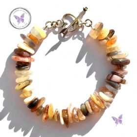Botswana Agate Nugget Chip Bracelet With Heart Toggle